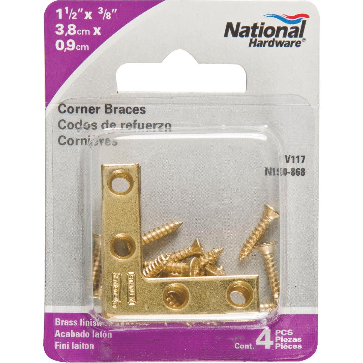 National Catalog 117 1-1/2 In. x 3/8 In. Brass Flat Corner Iron (4-Count) Image 2
