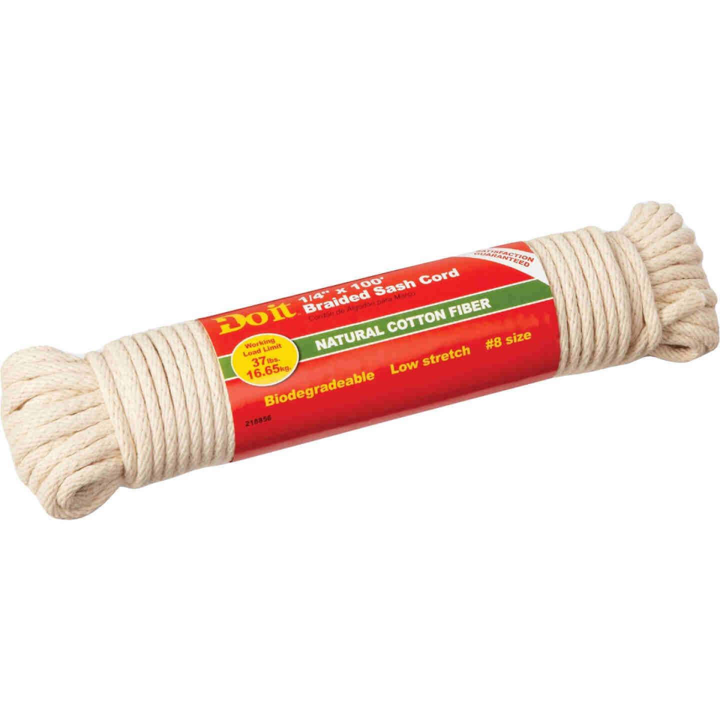 Do it 1/4 In. x 100 Ft. White Solid Braided Cotton Sash Cord Image 1