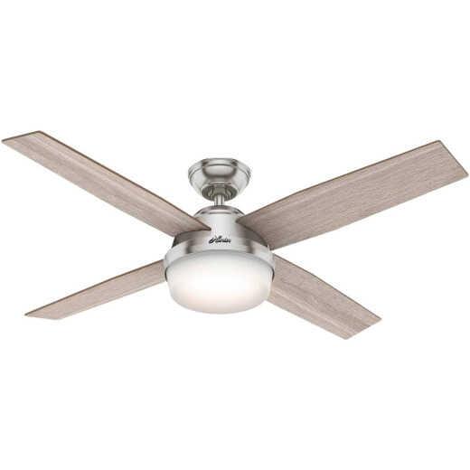 Hunter Dempsey 52 In. Brush Nickel Ceiling Fan with Light Kit