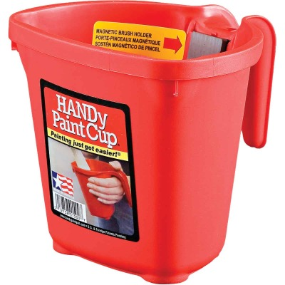 HANDy Paint Cup 1 Pt. Red Painter's Bucket with Hand Rest and Magnetic Brush Holder