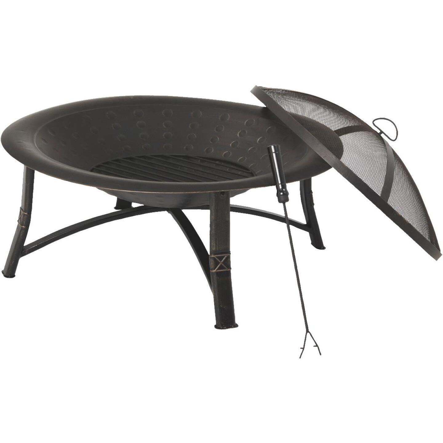Outdoor Expressions 35 In. Antique Bronze Round Steel Fire Pit Image 2