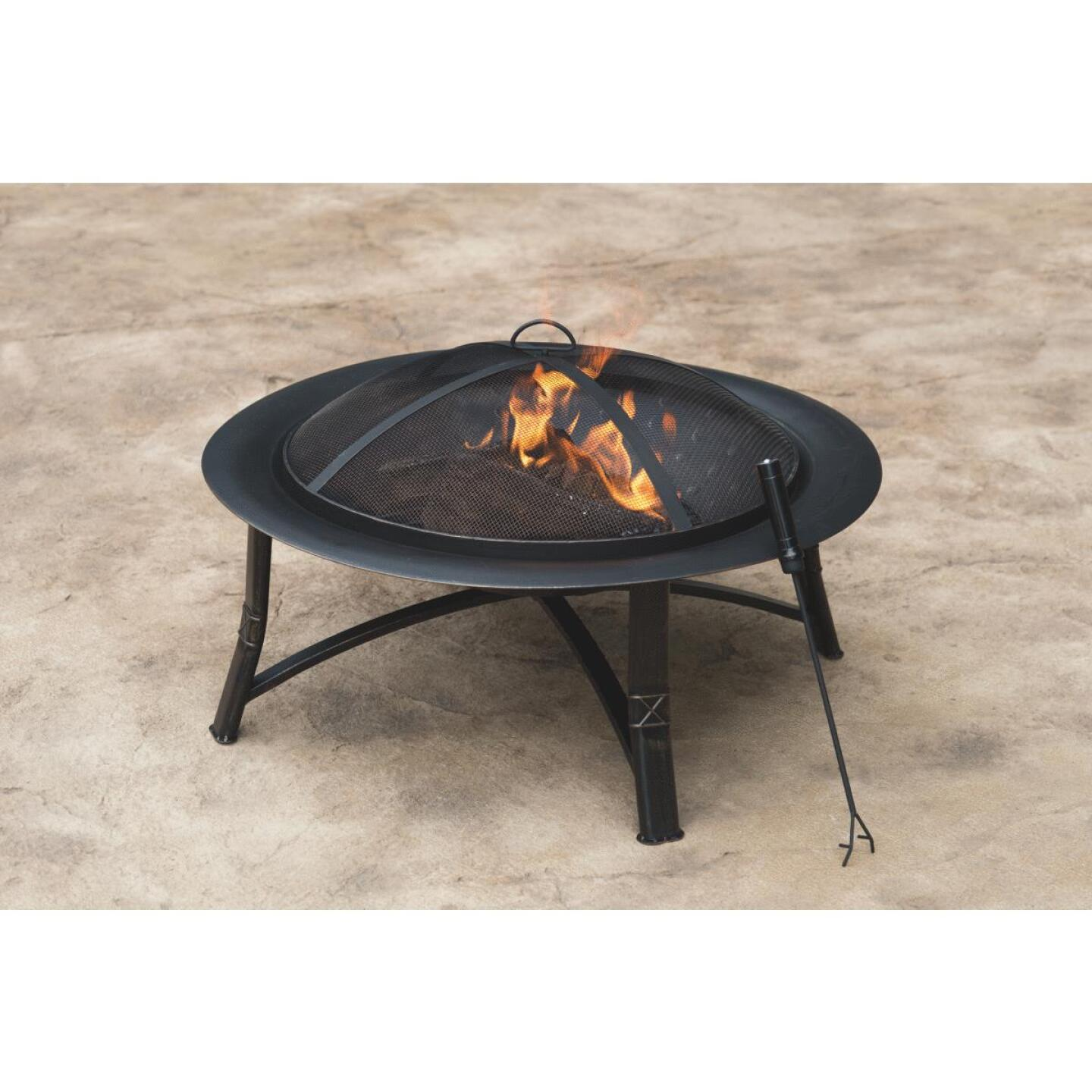 Outdoor Expressions 35 In. Antique Bronze Round Steel Fire Pit Image 3