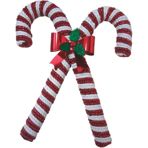 F C Young 15 In. Tinsel Double Candy Cane Holiday Decoration